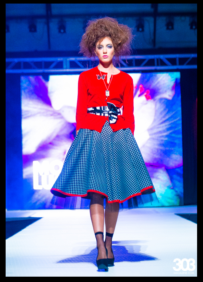 Mona Lucero Red Black Circle Skirt Ensemble
