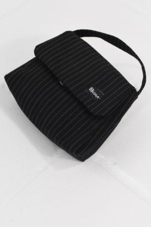 Mona Lucero Baby Bag Black Pinstripe Side
