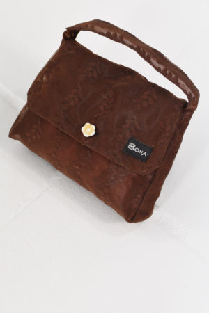 Mona Lucero Baby Bag Brown Flower Side