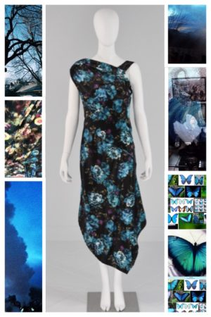 Dress Assymetrical Blue Floral Mona Lucero