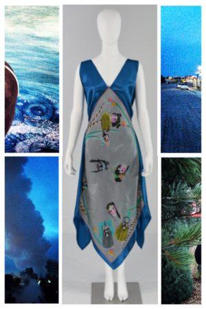 Dress Blue with Handkerchief Hem Mona Lucero