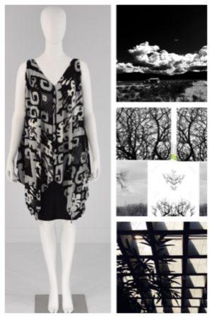 Top Black Grey & White Print Mona Lucero